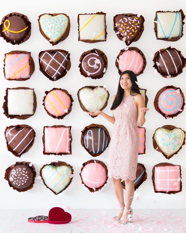 Assorted Chocolates Balloon Wall design by Naomi Julia Satake for Oh Happy Day!
