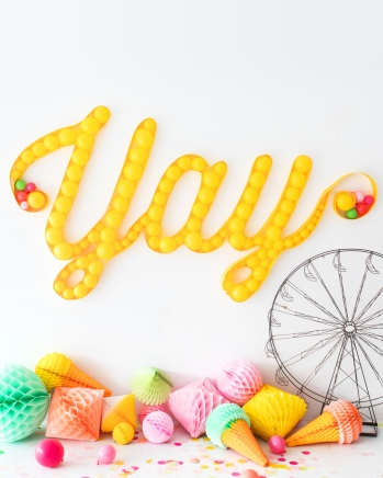 Marquee Light Balloon Wall by Naomi Julia Satake for Oh Happy Day!